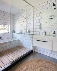 60 Elegant Small Master Bathroom Remodel Ideas, modern bathroom with offset white tile and walk in tile shower, neutral modern bathroom, black and white bathroom design, bathtub inside shower Bathroom Renos, Bathroom Interior, Modern Bathroom, Bathroom Ideas, Bathroom Remodeling, White Bathroom, Modern Shower, Bathroom Cabinets, Bathroom Small