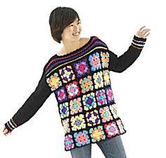 Crochet Granny Square Chic Pullover: free pattern