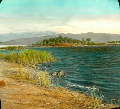 A hand-colored lantern slide of the Silver Lake reservoir, sometime shortly after its completion. Silver Lake Los Angeles, Los Angeles California, Old Hollywood, All Over The World, Places Ive Been, The Good Place, Lanterns, Mountains, History
