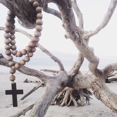 Image of Original Style Love Beads for the home - Sea Drift with Cross-1