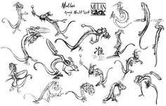 Mushu rough model sheet