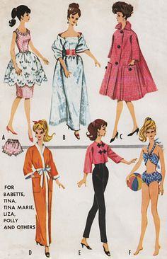 Barbie doll Sewing Pattern 6260 by shopmini on Etsy, $4.00