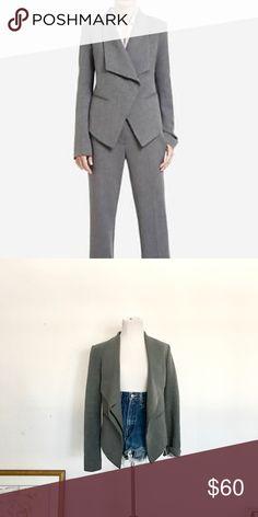 BCBGMaxazria Draped Blazer A gorgeous gray blazer with a unique shape to the front. Very high quality! BCBGMaxAzria Jackets & Coats Blazers