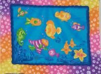 1 Panel Donna Dewberry Bubble Fish Cotton Fabric Sew Quilt Craft Fabric  3 Free Patterns Ships Free