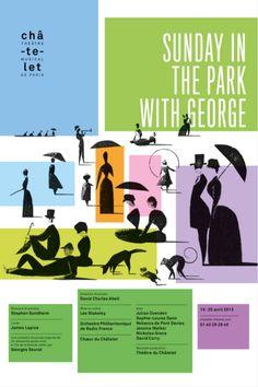Graphic Design by Philippe Apeloig (b.1962), 2013, Sunday in the Park with George Châtelet Théâtre musical de Paris, Sérigraphie, Lézard Graphique, Brumath (Alsace)