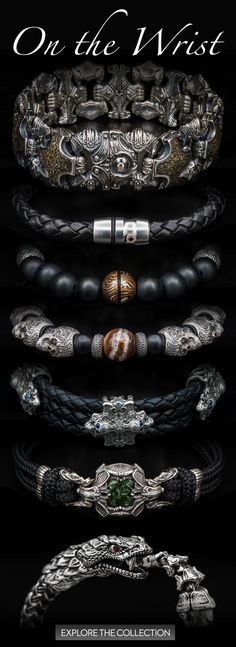 William Henry is a well-known creator of exclusive and unique bracelets for men. These men's bracelets includes the latest fashion trend with rare and exotic materials such as dinosaur fossils, carbon fiber and other rare materials. Unique Bracelets, Bracelets For Men, Beaded Bracelets, Skull Bracelet, Bracelet Men, Schmuck Design, Men's Accessories, Fashion Jewelry, Men's Jewelry