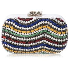 Corto Moltedo Handbags Susan C Star White Nappa Leather and Multicolor... ($1,825) ❤ liked on Polyvore featuring bags, handbags, clutches, evening hand bags, white purse, beaded purse, colorful clutches and evening purses
