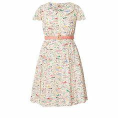 Silk Crepe Riviera Print Scallop Neck Dress