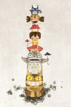 Totoro totem pole (I wish to have this made and put in my meditation garden!)