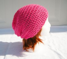 Crochet Hot Pink Slouchy Beanie Hat 329 by CraftyColors on Etsy