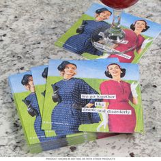 """Drunk Funny Quote Paper Napkins   Decorative Beverage Napkins   RetroPlanet.com Bring a little dose of jokey attitude to your next party! This package of Drunk and Disorderly Paper Cocktail Napkins features an image from artist Anne Taintor using vintage imagery with a cheeky saying: """"We go together like 'drunk' and 'disorderly'."""" It's sure to get a laugh from your close friends at your next gathering!"""