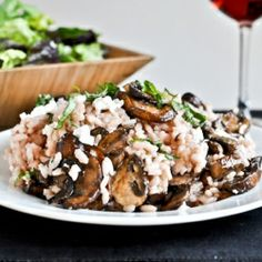 red wine + goat cheese risotto