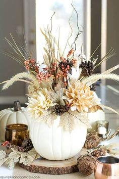 We find creative and budget friendly ways to add a little seasonal decor to your home, So here are 22 gorgeous DIY fall decor ideas you love to decorate this year. DIY fall decor ideas that you can… Pumpkin Vase, Diy Pumpkin, Pumpkin Flower, White Pumpkin Decor, Pumpkin Bouquet, Pumpkin Candles, Pumpkin Crafts, Pumpkin Carving, Pumpkin Spice