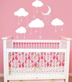 Cloud Wall Decal Stars and Moon Vinyl Sticker Art Home Decor Mural Clouds Decals Nursery Children Bedroom Cloudy Sky Baby Room Decor AN669
