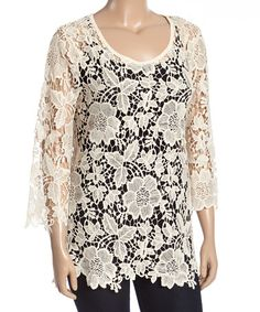 Loving this Natural Floral Crochet Top - Plus on #zulily! #zulilyfinds