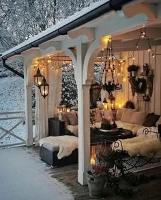 Home Decor Living Room What a cozy place amidst the snow . Decor Living Room What a cozy place amidst the snow . Outdoor Rooms, Outdoor Decor, Outdoor Living Spaces, Outdoor Bedroom, Outdoor Curtains, Outdoor Areas, Outside Living, Cozy Place, Cozy Living Rooms