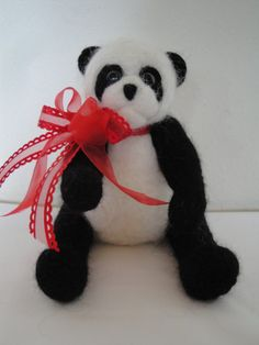 Alpaca Needle Felted Panda Bear 12 inches by GoldenPineAlpacas, $35.00