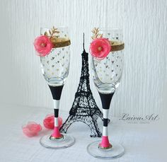 Wedding Champagne Flutes Champagne Glasses Black White Gold & Hot Pink Wedding Toasting Flutes  - pinned by pin4etsy.com