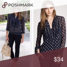 J. Crew polka dot blouse Beautiful 100% silk polka dot blouse in Black and Tan. A classic fav.. Perfect for work or preppy look this summer, as its light weight. In great condition. Size 10 J. Crew Tops Blouses