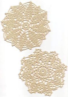 2 Crochet Lace Doily Small Crocheted Doilies Housewarming Gift