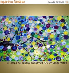 ❘❘❙❙❚❚ ON SALE ❚❚❙❙❘❘Price already marked down!     Original Modern Abstract TREE Flowers Landscape Painting on Gallery canvas- Spring Branch This original art may not be copied, printed, or used for any purpose without my written permission.  Size:36x24x0.9 Medium: acrylic,varnish on gallery wrapped cotton canvas(staples are on back, not on sides). The sides of the canvas are painted . - Artist: Luiza Vizoli - Style: Modern - Signed front & rear - Certification of Authenticity with my…