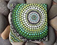 """Playa diseño punto arte pintura, por Raechel Saunders, arte de Biripi, 4 """"x 4"""", pintura aborigen de acrílico, decoración de playa"""