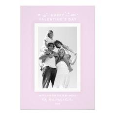 minimal elegant pastel pink valentines day photo card