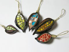ornaments - mosaic handmade in 5 natural pods - Christmas Tree and House decoration - mixed. $39.00, via Etsy.