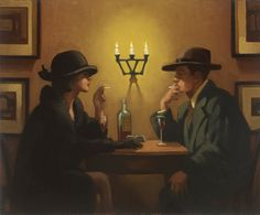Jack Vettriano (Scottish, born 'Brief Encounter' Oil on canvas ~ 20 x 25 inches ~ via Jeannie Buck Jack Vettriano, The Singing Butler, Michael Carter, Brief Encounter, Oil Painting Reproductions, Art For Art Sake, Pulp Art, Couple Art, Retro
