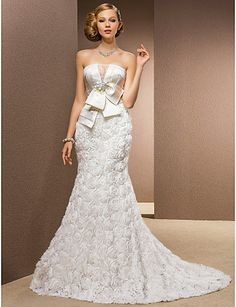 Trumpet/Mermaid Princess Strapless Chapel Train Chiffon And Stretch Satin Wedding Dress - USD $ 593.99