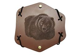 """Shriver Arm Guards Traditional Archery Grizzly Bear Image Brown Leather Protective Gear Longbow Armguard Adult Size 7″ x 7″ Handcrafted USA Adult Size, 7"""" x 7""""8/9 oz. Cow Hide/Bridle LeatherAdjustable Elastic  http://outdoorgear.mobi/product/shriver-arm-guards-traditional-archery-grizzly-bear-image-brown-leather-protective-gear-longbow-armguard-adult-size-7-x-7-handcrafted-usa/"""