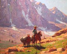 Edgar Payne was an American Western landscape painter and muralist. His lifelong obsession was with the Sierras. Of all the devices in an artist's repertoire, contrast may be the most dramatic and arresting to the eye. Watercolor Landscape, Landscape Art, Landscape Paintings, Visual Elements Of Art, Missouri, Edgar Payne, Online Painting Classes, Online Art School, Western Landscape