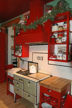 Vintage-inspired kitchen (decorated for Christmas)... that stove! ...the back splash! <3 | by sweetgaldecals, via Flickr