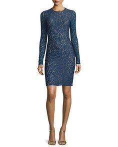 Lace+Long-Sleeve+Sheath+Dress,+Sapphire+by+Michael+Kors+Collection+at+Neiman+Marcus.