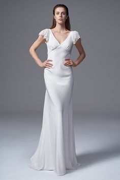 THE VERA SILK CREPE DRESS WITH FRENCH LACE FRILL SLEEVES. BRIDAL WEDDING DRESS BY HALFPENNY LONDON