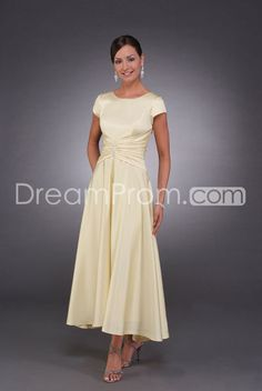 Charming A-Line Bateau Capped Short-Sleeves Ankle-Length Mother of the Bride Dresses