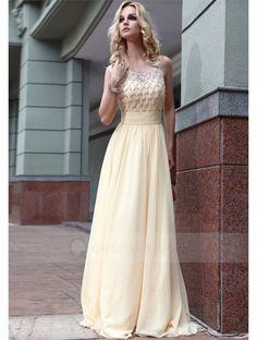A-line Scoop Neck Sleeveless Beaded Bodice Long Chiffon Prom Dress