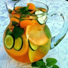 Fat flush water. Drink 3 glasses a day. The longer it sits the better it tastes. Water, 1 grapefruit, 1 tangerine, 1/2 cucumber, and 2 peppermint leaves. One user said that it also decreases blood pressure in 3 weeks of use. Grapefruit interferes with some meds and can be replaced by pomegranate