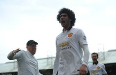 Marouane Fellaini celebrates his header which proved to be the winner for Manchester Unite...