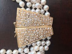 Multi-Strand Pearl Necklace with Gorgeous Pave Diamond & Gold Clasp