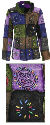Patchwork Stonewashed Hooded Jacket at The Animal Rescue Site  CHECK OUT THEIR WEBSITE TO HELP ANIMALS.