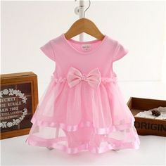 Cotton Bow Baby Girls Jumpsuit Dress