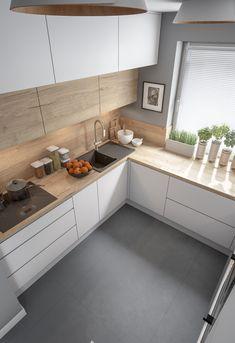 Kitchen Room Design, Kitchen Cabinet Design, Modern Kitchen Design, Kitchen Layout, Home Decor Kitchen, Interior Design Kitchen, Home Kitchens, Small Modern Kitchens, Modern Kitchen Interiors