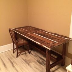 Old door made into desk or crafting table & DIY desk my boyfriend and I made using an old door 8 pieces of 2x4s ...