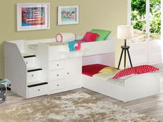 "Twin over Twin Low Bunk Bed with Extra Deep Drawers. Overall: 45"" H x 96"" W x…"