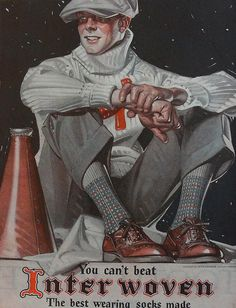 Interwoven socks ad, illustration by J.C. Leyendecker. From the Saturday Evening Post, October 23, 1926