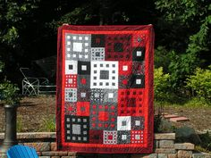 Quilt--Geometric Boxes in Black, White and Red. $325.00, via Etsy.