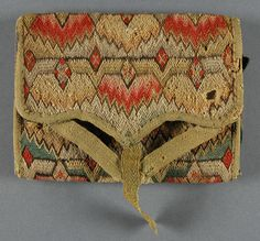Pocketbook, Philadelphia Museum of Art, Pennsylvania German, 1785, Linen plain weave with silk and wool embroidery, silk satin, wool twill tape, 5 12 x 4 1/16 inches, accession number 1902-336