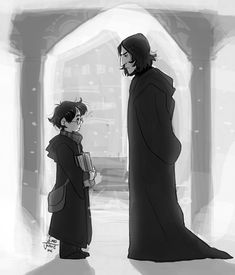 Harry and Severus Snape--Look at the butt on Snape! <<<that's his sleeve