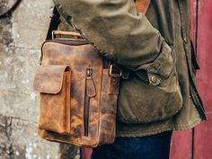 View our Men Men's Leather Shoulder Bag - The Indy from the Men collection Mens Leather Satchel, Leather Backpack For Men, Leather Duffle Bag, Leather Men, Mens Travel Bag, Travel Bags, Vintage Leather, Vintage Men, Leather Shoulder Bag